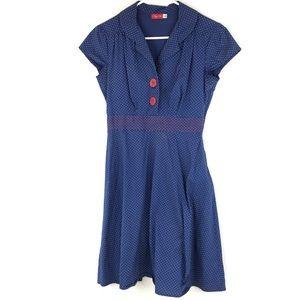 Ruby Rox Women's 7 Blue Red Polka Dot Dress Retro